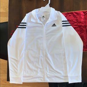 White and Black Adidas Sports Zip Up Jacket